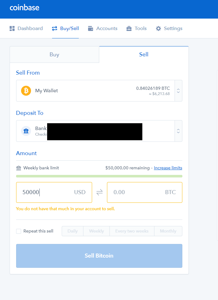Coinbase Bitcoin Cash Out Limit