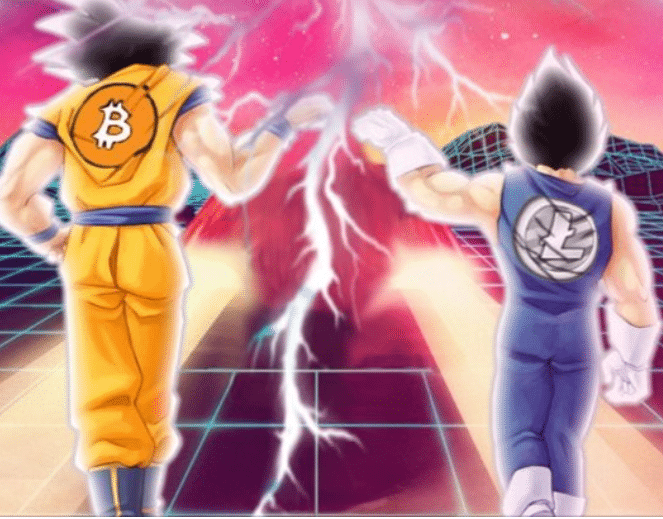 Charlie Lee's Twitter features an anime-styled cover photo that demonstrates the relationship between Litecoin and Bitcoin.